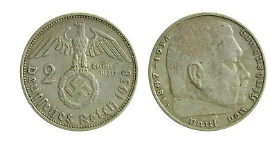 s46_59) GERMANY THIRD REICH 2 MARK 1938 A SILVER