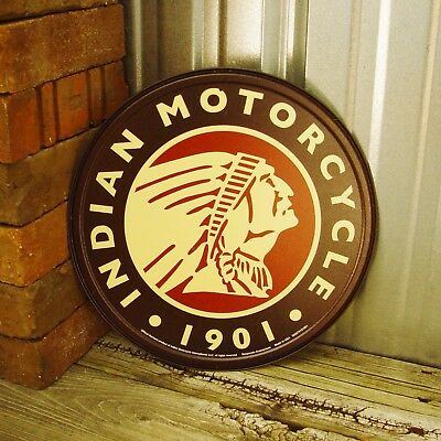 "Indian Motorcyle Sign 1901 Logo Brown Round 12"" Metal Tin Sign Vintage Garage"
