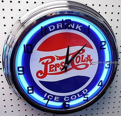 "17"" Drink Ice Cold PEPSI COLA Sign Neon Clock"