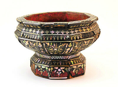 THAILAND, 19thC RARE ANTIQUE MOTHER OF PEARL INLAID BLACK LAC FOOTED BOWL OR CUP