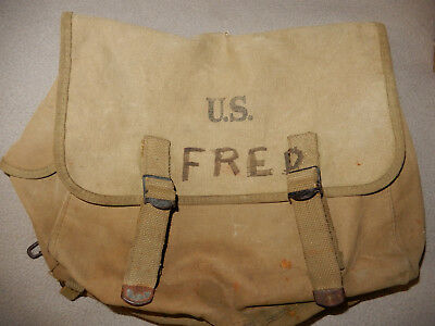 Original 1944 Dated Wwii Us Army Khaki Musette Bag M1936 Pack