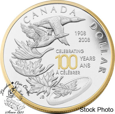 Canada 2008 $1 Celebrating RCM Centennial Proof Gold Plated Silver Dollar Coin