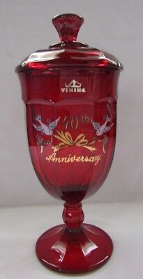 Viking Glass Tall Covered Candy Jar Hand Painted 40Th Anniv. (Epic Ruby Red)