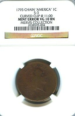 1793 Chain Cent S-3 NGC VG 10 Straight Grade Bold Strike Flowing Hair Large Cent