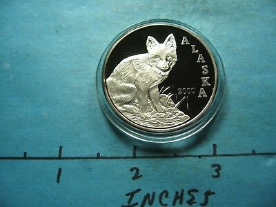 Red Fox 2000 Alaska Mint State Seal On Back 999 Silver Coin Rare Sharp Item