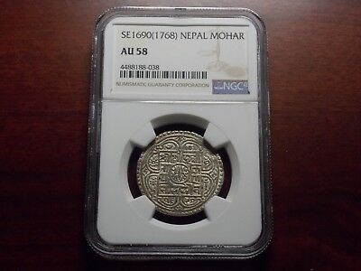 SE1690 1768 Nepal Mohar Silver Coin NGC AU-58