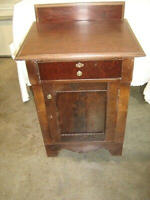 Antique Large Mahogany Stand or Night Stand One door with brass hardware  102
