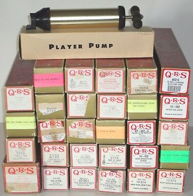 Large Lot ~ 28 QRS Player Piano Rolls ~ Pump (No Compression) ~ Leaders w/ Tabs