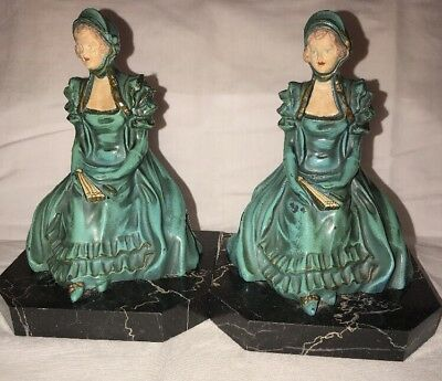 Set of 2 Antique Silver Cast Iron Enamel Women In Dress With Fan Book Ends 6.5""