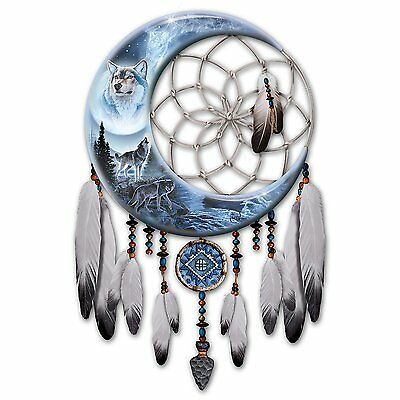 Wolf Night Spirit Illuminated Native American Dreamcatcher Wall Decor NEW
