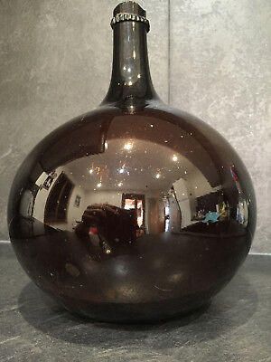 24187 Handblown c-1820 Amber brown Glass french Demijohn bottle carboy
