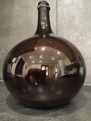 Handblown c-1820 Amber brown Glass french Demijohn bottle carboy
