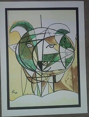 Old New Stock 60s Vintage RARE Silkscreen Signed in print PICASSO Goat Ram Sheep