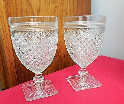 """Lot of (2) Anchor Hocking Depression Glass Miss America 5-1/2"""" Water Goblets"""