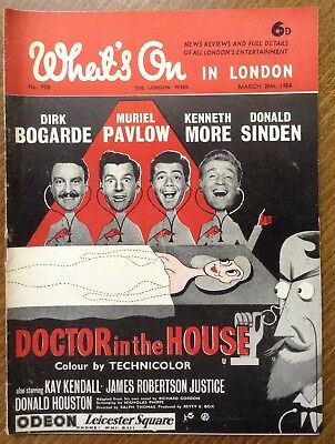 """1954 magazine, """" What's on in London """"  Doctor in the house cover."""