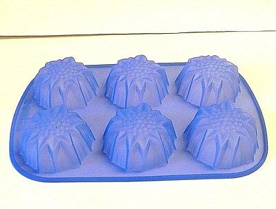Blue Silicone  Sunflower 6 Muffin Cupcake Mold Baking Pan  oven/ freezer  Jell-O