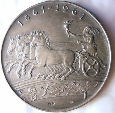 1961 ITALY 100 Year Centennial Medal - VERY LARGE STERLING SILVER - Huge Value