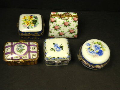 5Pc Old Hand Painted Porcelain Floral Decor Signed Pill Or Trinket Box/s Lot159