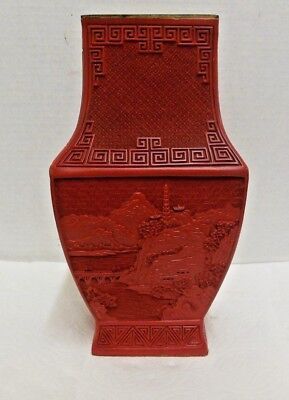 "Antique Chinese 11"" Carved Cinnabar Lacquer Vase FLORAL MOUNTAIN VILLAGE SCENE"