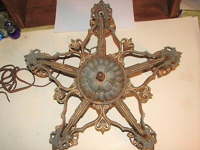 Vintage Art Deco Cast Iron Ceiling Light Chandelier Fixture #2