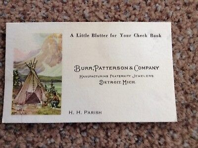 "RARE c.1920 ""LITTLE BLOTTER""w. COLOR AMER. INDIAN+TEEPEE MOTIF ( FRAT. JEWELERS)"