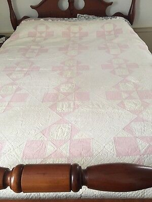 Antique Vintage  Hand Quilted Pink White Patchwork 78 X 78   Very Nice