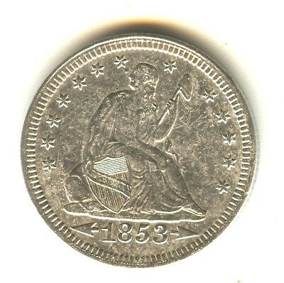 1853 Seated Liberty Quarter AU Arrows and Rays Heavy Obverse Planchet Lamination