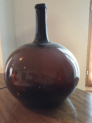 Handblown c-1820 Amber brown Glass french Demijohn bottle carboy II