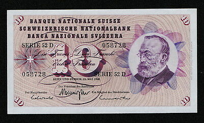SWITZERLAND (P45n) 10 Francs 1968 aUNC+