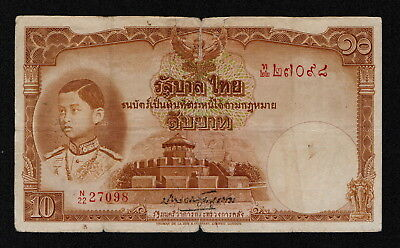THAILAND (P035) 10 Baht ND(1939) aF/VG+ GOVERNMENT OF THAILAND