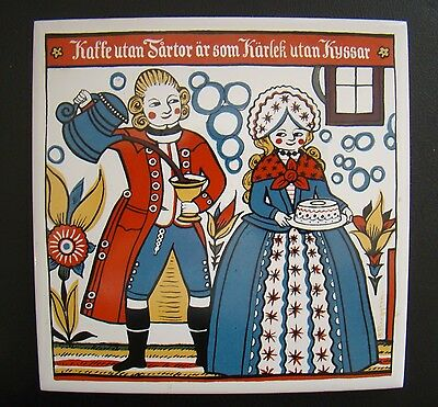 Bergquist Imports Swedish #195 folk art vintage Coffee without Cake Tile Trivet