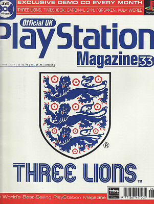 OFFICIAL PLAYSTATION MAGAZINE issue 33 JUNE 1998 - THREE LIONS cover!