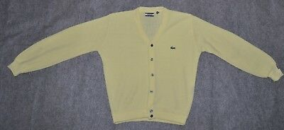 vintage LACOSTE CARDIGAN BUTTON FRONT SWEATER w/ Crocodile Yellow sz M Sweater