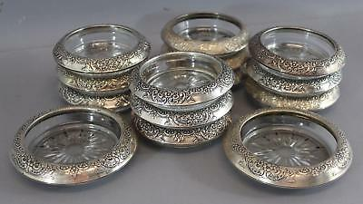 14 Victorian Frank M Whiting Sterling Silver Crystal Wine Water Glass Coasters
