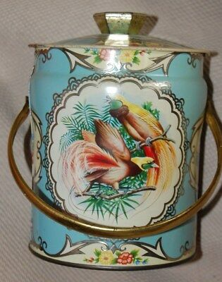 Vintage Blue Gold Metal Tin Candy Container BIRDS Handle England Shabby Cottage