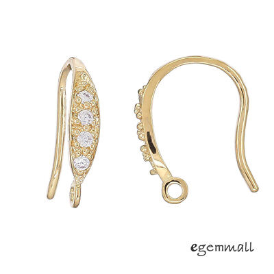 18kt Gold Plated Sterling Silver CZ French Earring Hook Ear Wire Connector 99659