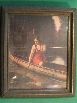L. Goddard Vintage Indian Maiden in Canoe Framed Picture 1920's  - 1930's OLDIE