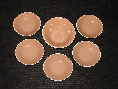 Set Lot 6 Harkerware PINK COCOA 1 serving vegetable & 5 lugged oval soup bowls
