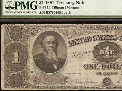 LARGE 1891 $1 DOLLAR BILL STANTON TREASURY NOTE BIG CURRENCY MONEY Fr 351 PMG