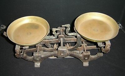Antique French 19th Century Iron and Brass Double Balance Mercantile Scale.