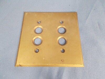 Antique Brass 2-Gang Double Push Button Light Switch Plate Cover