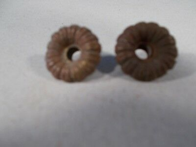 Victorian Pair of Cast Brass Fancy Ribbed Nuts to Hold Prism Band Shade Ring