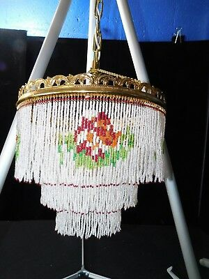 Magnificent Vintage Victorian Glass Hand-Beaded Chandelier