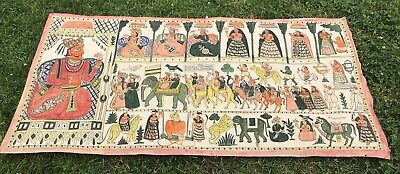 Antique Pabuji Ki Phad Rajasthan North India Painted Scroll Deities