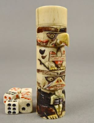 Early 1900s Cow Bone TOTEM DICE CASE Bear Eagle Victoria BC Native Northwest NWC
