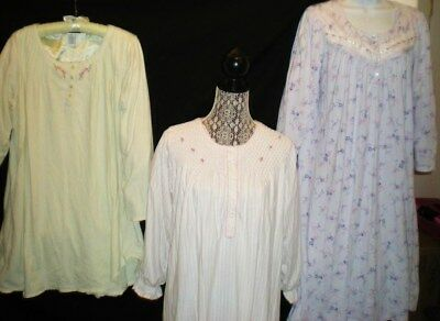 Lot of 3 Vintage ARIA FLANNEL NIGHTGOWNS Pintucks Rosettes Embroidery  M
