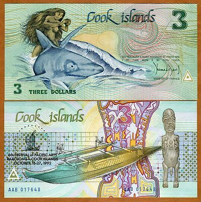 Cook Islands, $3, 1992, Naked Ina, P-6, UNC > Commemorative