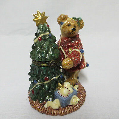 Boyds Bear Christmas Tree Hinged Trinket Box Porcelain Bearware Pottery Works