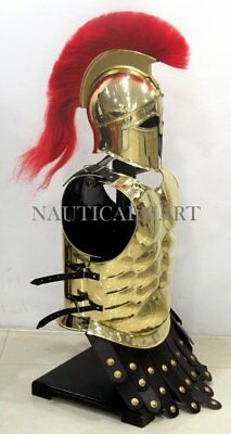 Medieval Knight Greek Corinthian Helmet Brass -MUSCLE ARMOR Halloween Costume JS
