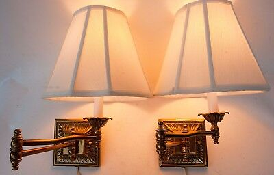 PAIR of Vintage Brass Swing Arm Lamp Wall Mount Electric Plug In Lights + Shade